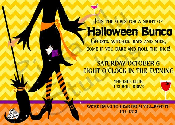 Halloween Bunco Party Invitations by PickadillyStudios on Etsy
