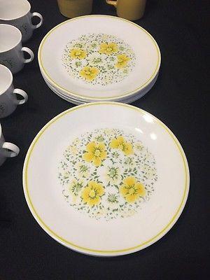 Vtg Corningware Corelle APRIL YELLOW FLOWERS Dish Set 30 Pc 15 Plates Mugs Lot 2 & Vtg Corningware Corelle APRIL YELLOW FLOWERS Dish Set 30 Pc 15 ...