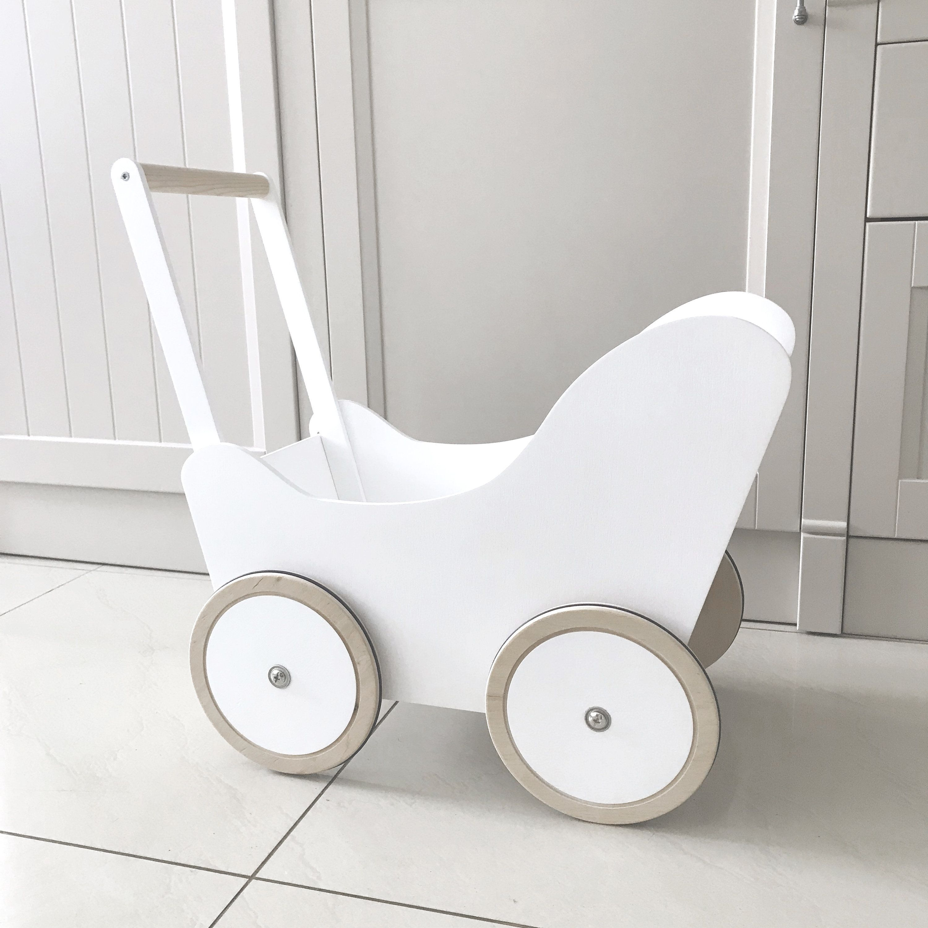 white wooden dolls pram stroller push toy baby push walker