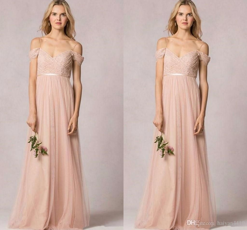 db29eef51be1 2017 New Long Bridesmaid Dresses Off Shoulder Cap Sleeves Wedding Guest  Wear Lace Tulle Blush Pink
