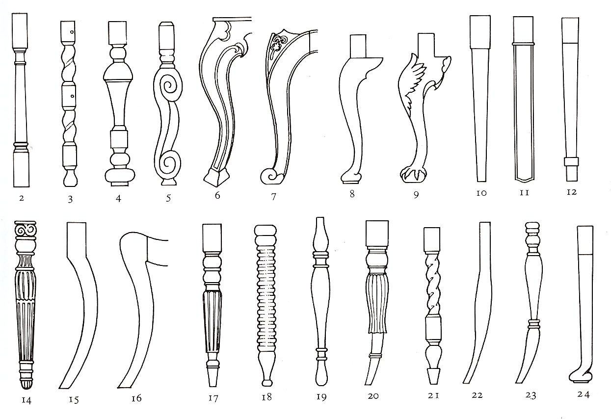 Furniture Leg Styles 2 Baluster 3 Twist 4 Cup And Cover 5 Flemish Scroll 6 Square 7 Louis Xv Furniture Legs Furniture Styles Victorian Furniture