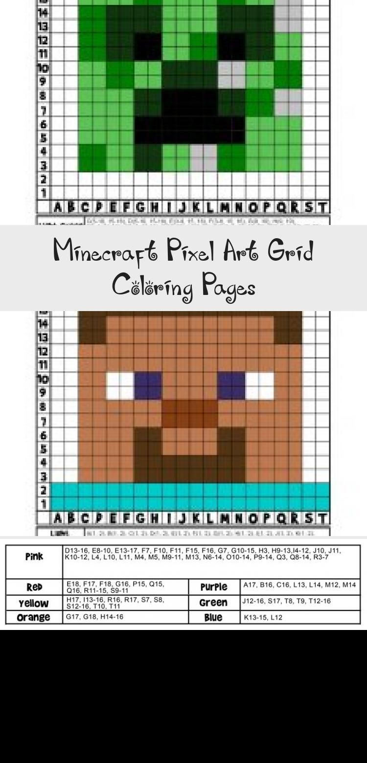 Minecraft Pixel Art Grid Coloring Pages In 2020
