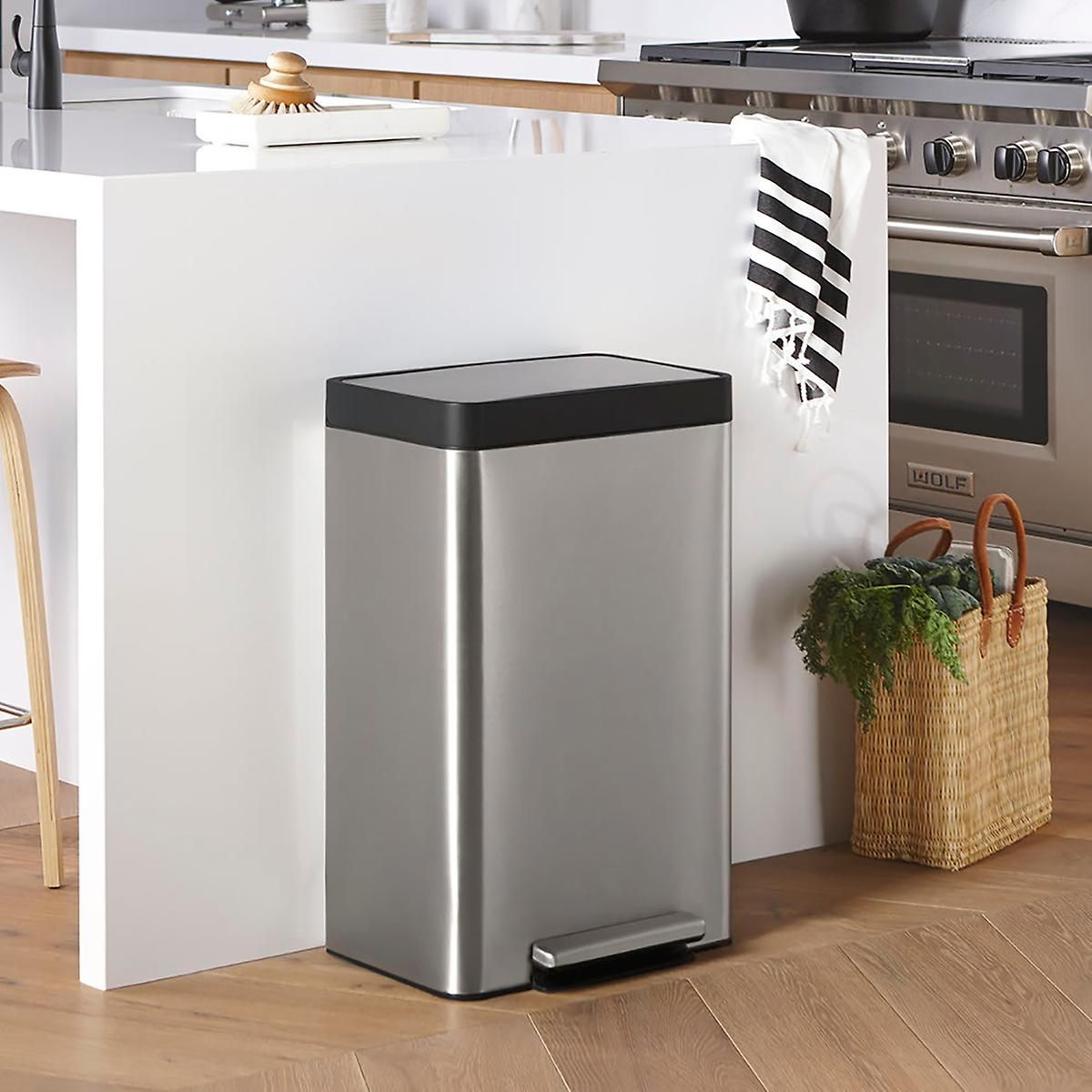Kohler Stainless Steel 13 Gal Step Trash Can Kitchen