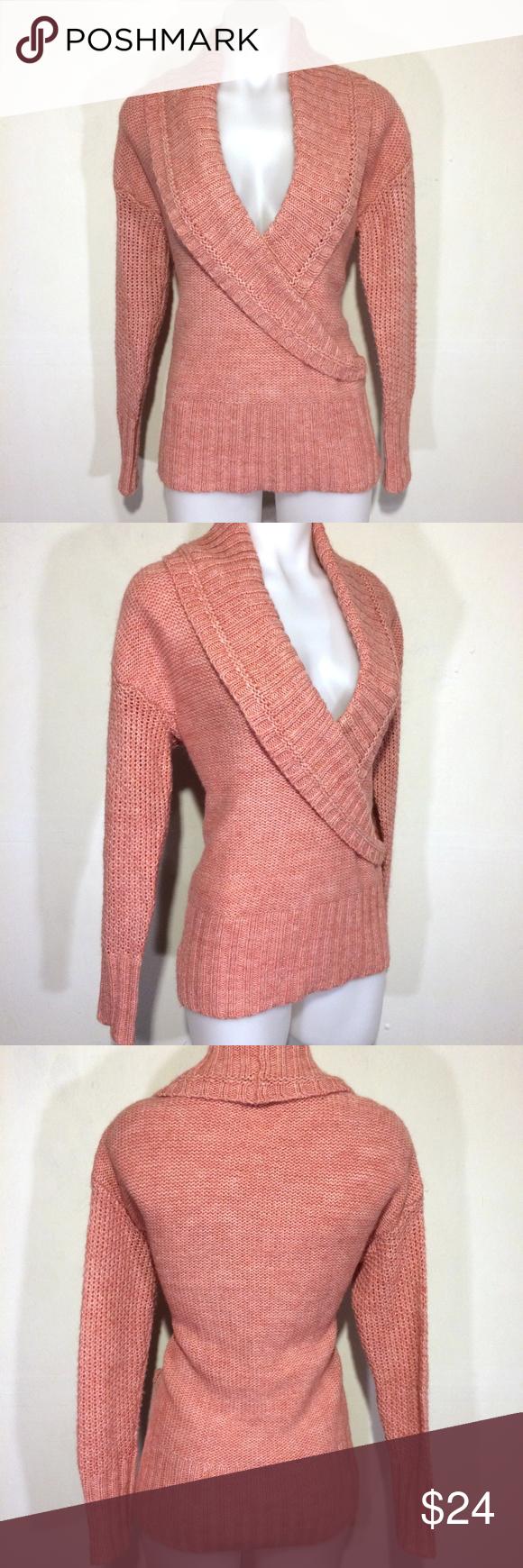 LOFT salmon shawl collar chunky knit sweater