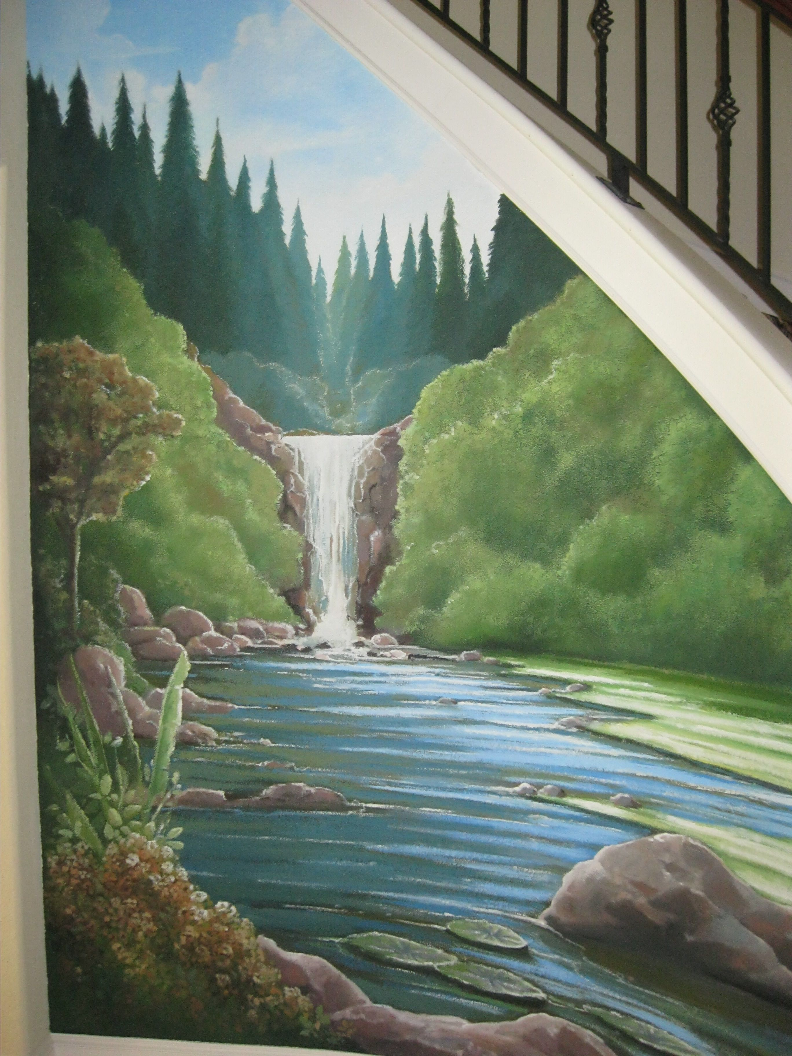 Nature, waterfall mural under a staircase. www ...