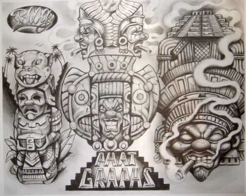 Tattoo Flash By Boog татуировки зарисовки 191 фото Aztec Tattoo Designs Aztec Art Aztec Tattoo
