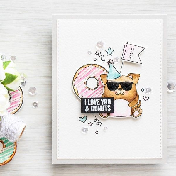 I Love You and Donuts Watercoloring with Puff Embossing Powder