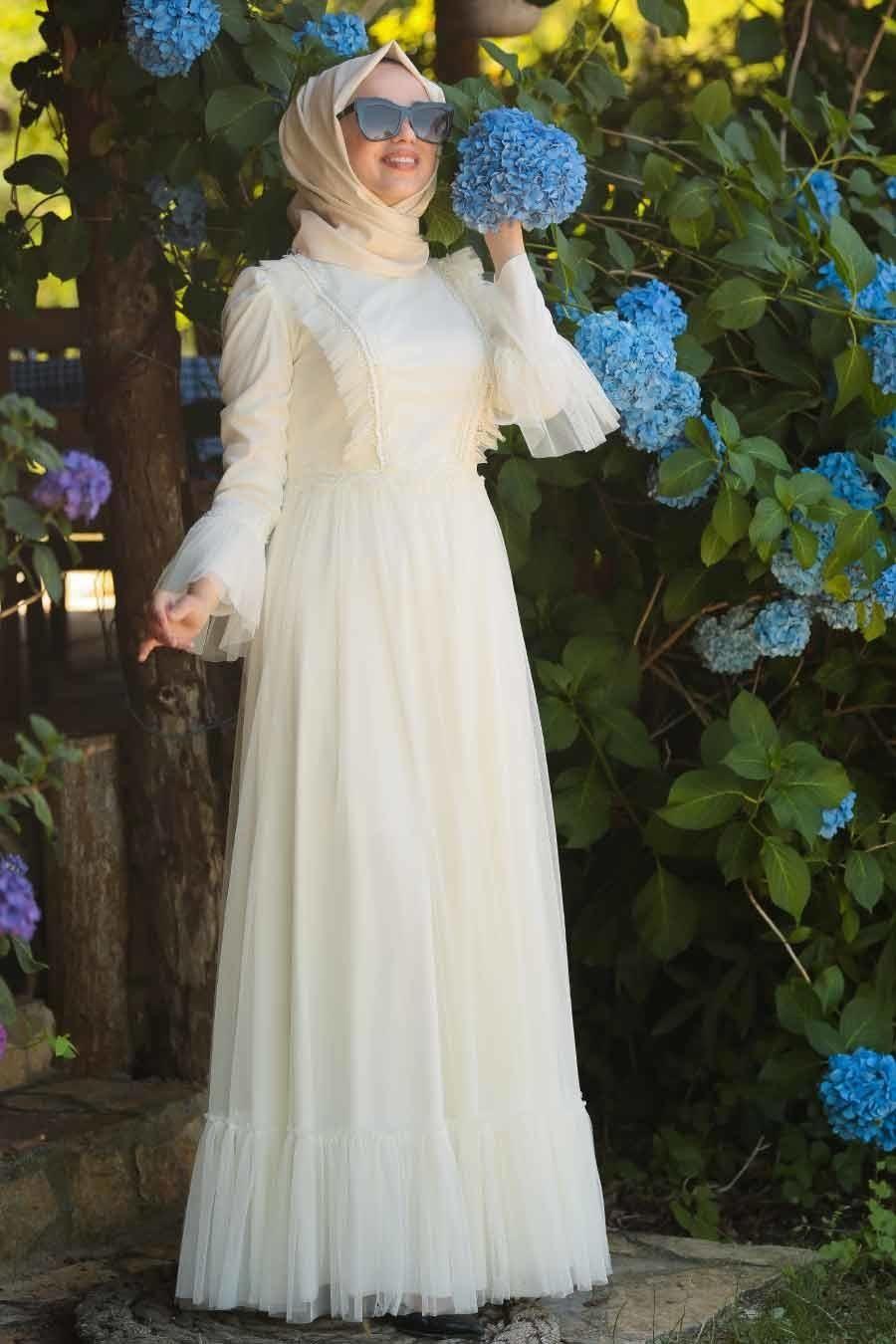 Tesetturlu Abiye Elbise Boncuk Detayli Ekru Tesettur Abiye Elbise 38980e Tesetturisland Com Gelinlik Elbise The Dress
