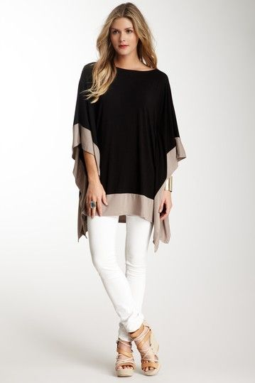 7450bb4fab1fa6 Colorblock Kaftan Sleeve Top