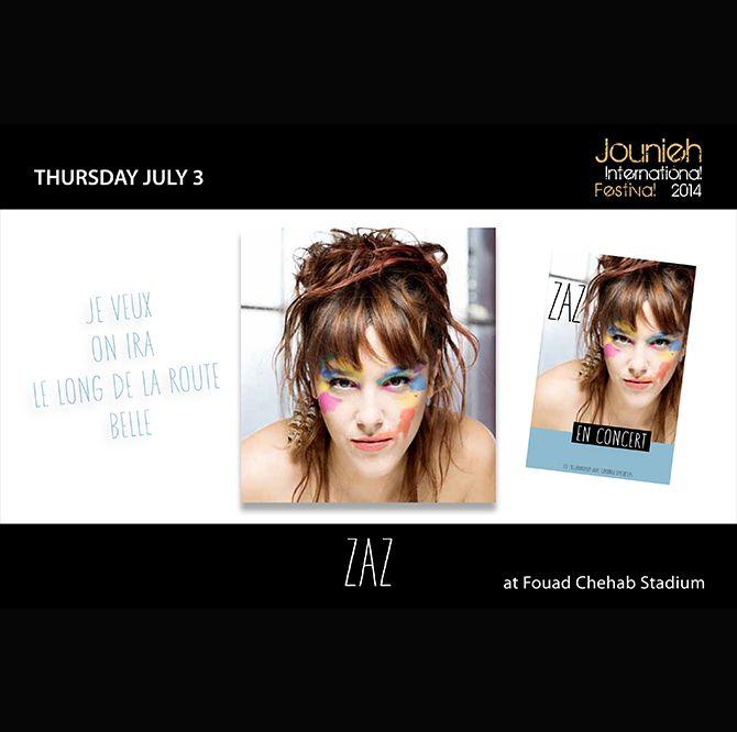 Thursday July 3: #ZAZ (#Fouad #Chehab #Stadium)  www.jouniehinternationalfestival.com
