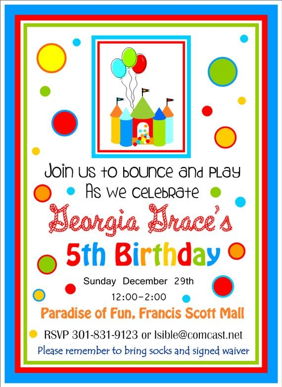 bounce house party invitations bouncy castle by thepaperkingdom, Birthday invitations