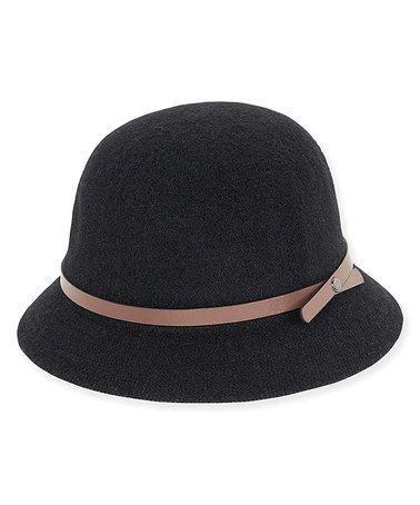 Look at this #zulilyfind! Black & Pink Band-Trim Cloche #zulilyfinds