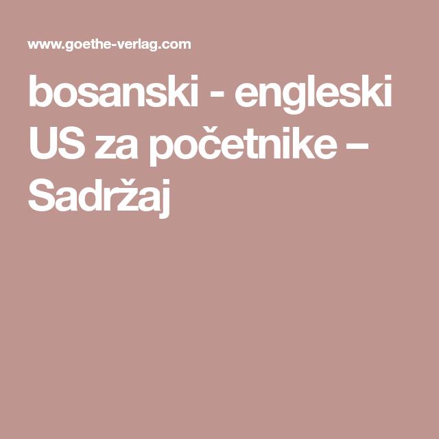 Bosanski Engleski Us Za Početnike Sadržaj Book Books