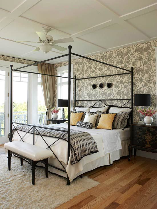 Bring a bed into full bloom using a colorful combination of floral patterns. More decorating tips: http://www.bhg.com/rooms/bedroom/themes/bedroom-decorating-tips/