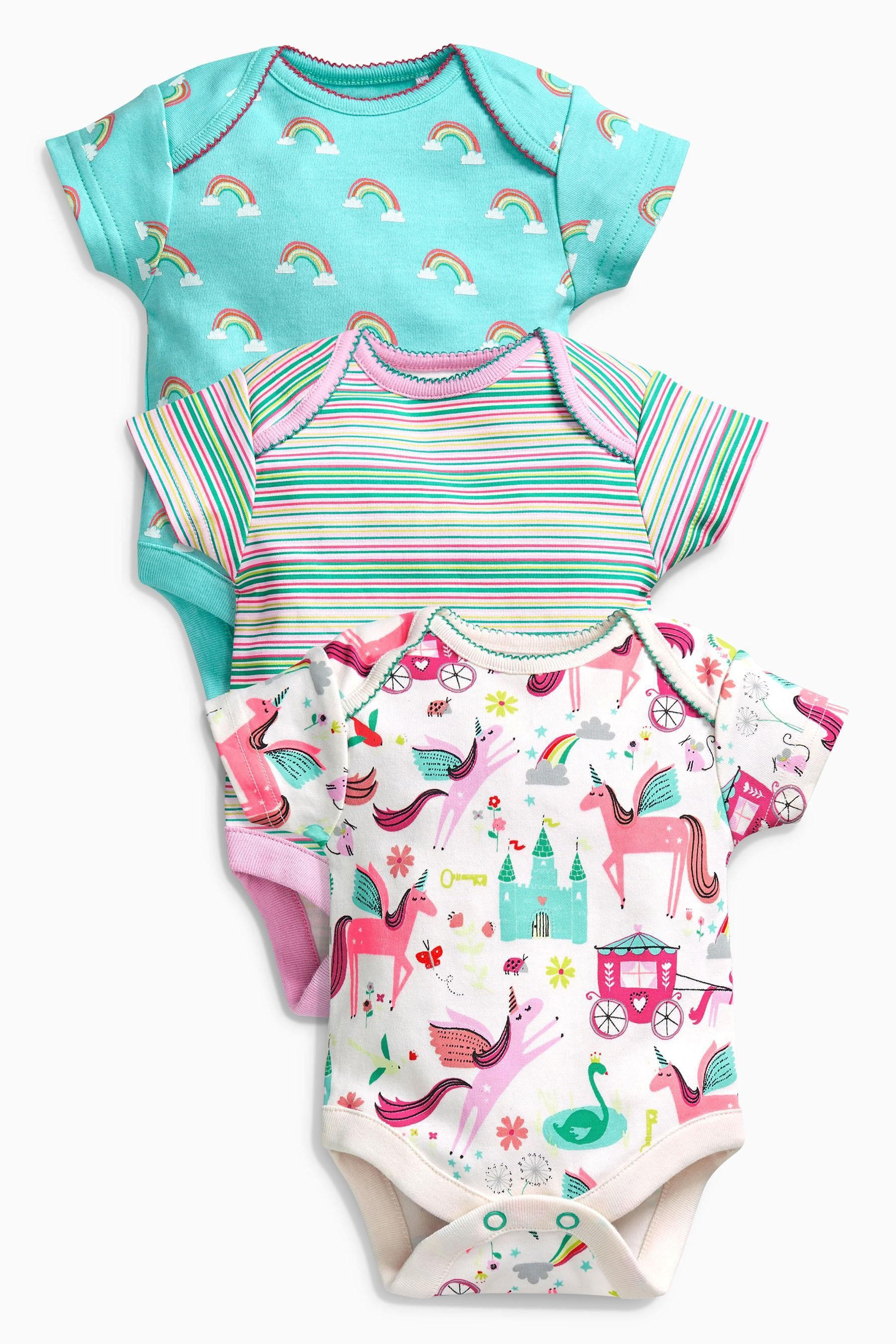 c7078502e Buy Multi Unicorn Short Sleeve Bodysuits Three Pack (0mths-2yrs) from the  Next UK online shop
