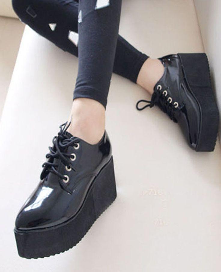 Goth high Platform flat creeper shoes
