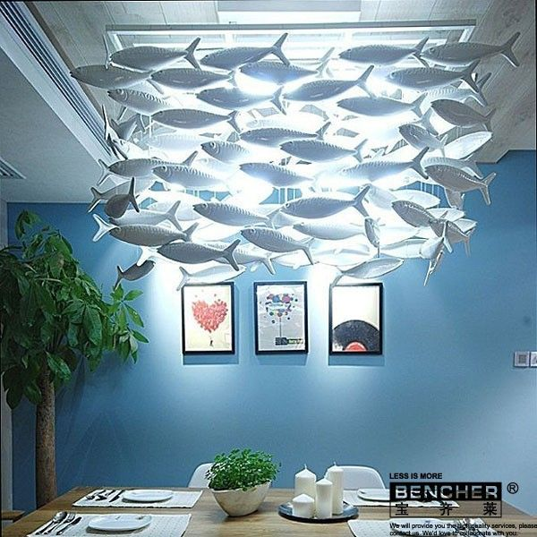 Simple Fashion IKEA Dining Room Living Chandelier Creative Ceramic Lamp Decorative Lighting Lamps Fish Products