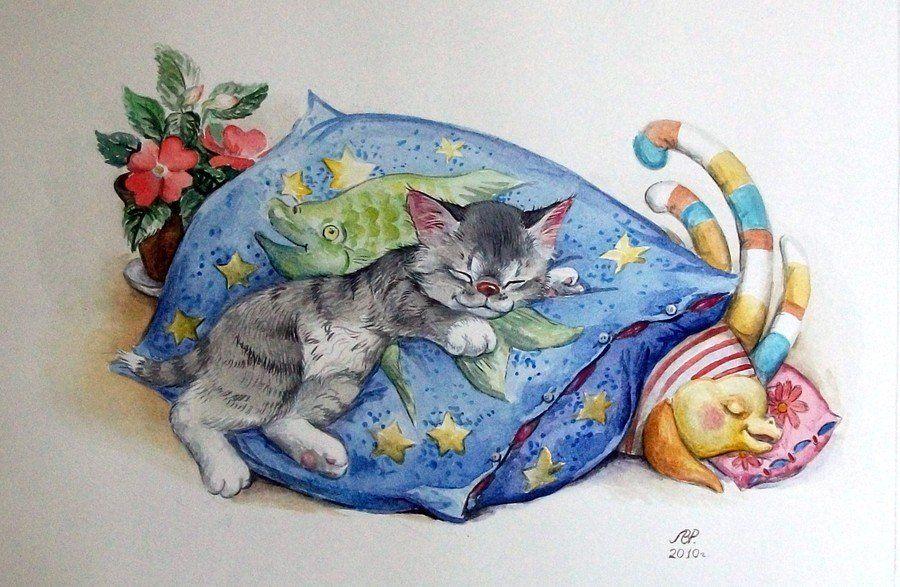 Открытки спящий кот, картинки