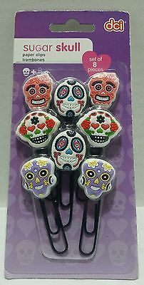Sugar Skull Paper Clips Set Of 8 Halloween Day Of The Dead Zombie