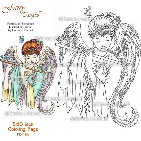 fairy tangles printable coloring pages by norma j burnell fairies to color angel