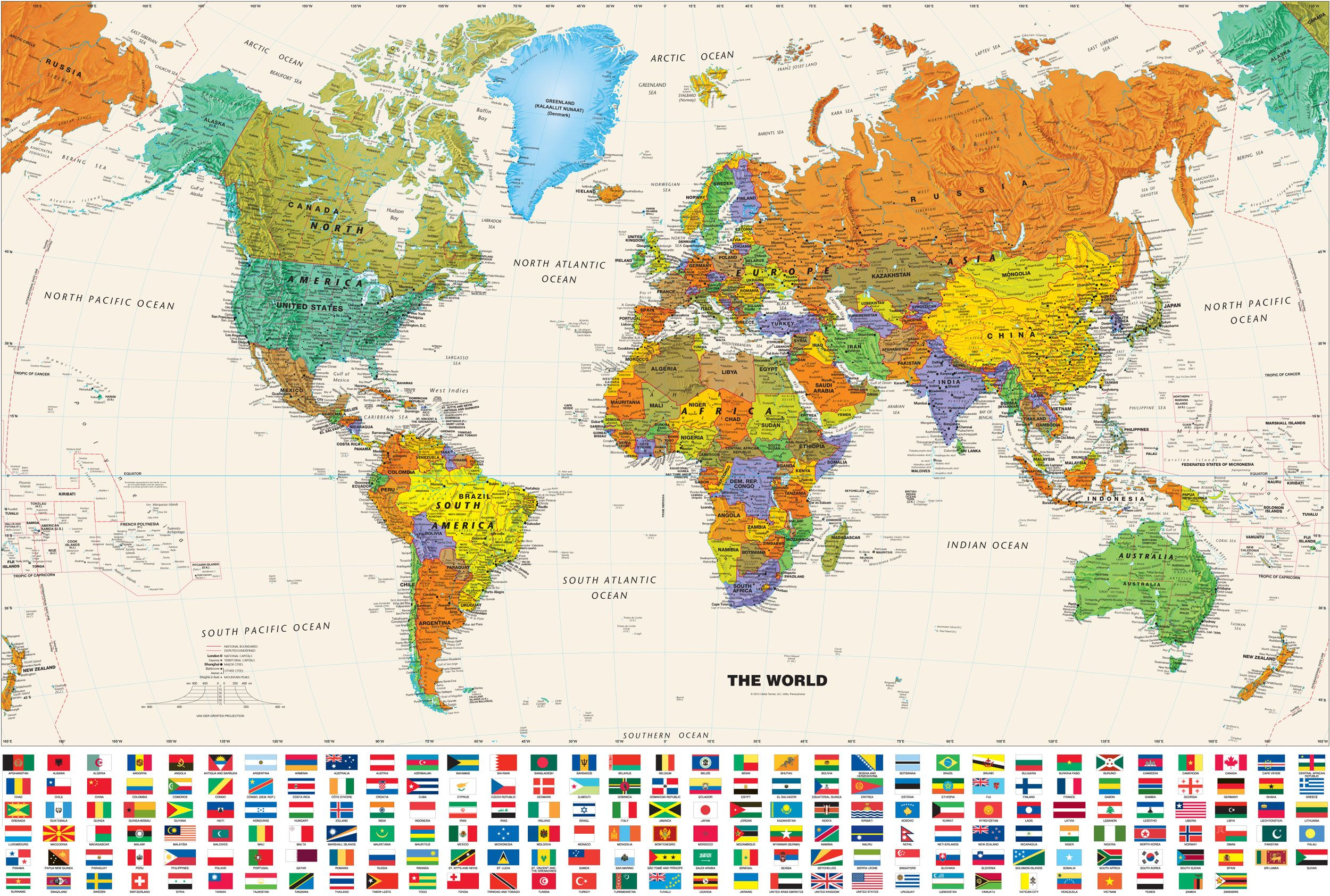 Contemporary world wall map with flags studymud room custom wall printing services world map poster gumiabroncs Images