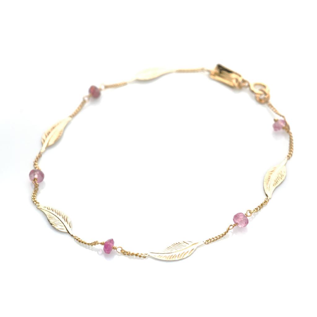 #Bijou Femme :: #Bracelet 5 petites #plumes et #tourmalines roses - Disponible en #Or Blanc ou en Or Jaune.
