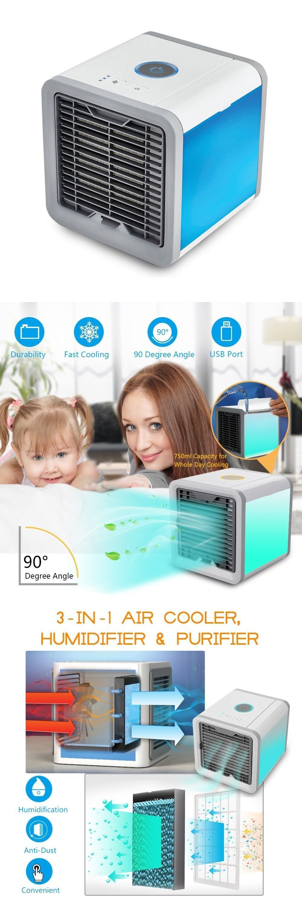 Portable Mini AC Air Conditioner Personal Unit Cooling Fan