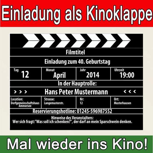 Fesselnd Einladungen   Einladungskarten Einladung Kino Geburtstag   Ein  Designerstück Von Kartenversand24 Bei DaWanda