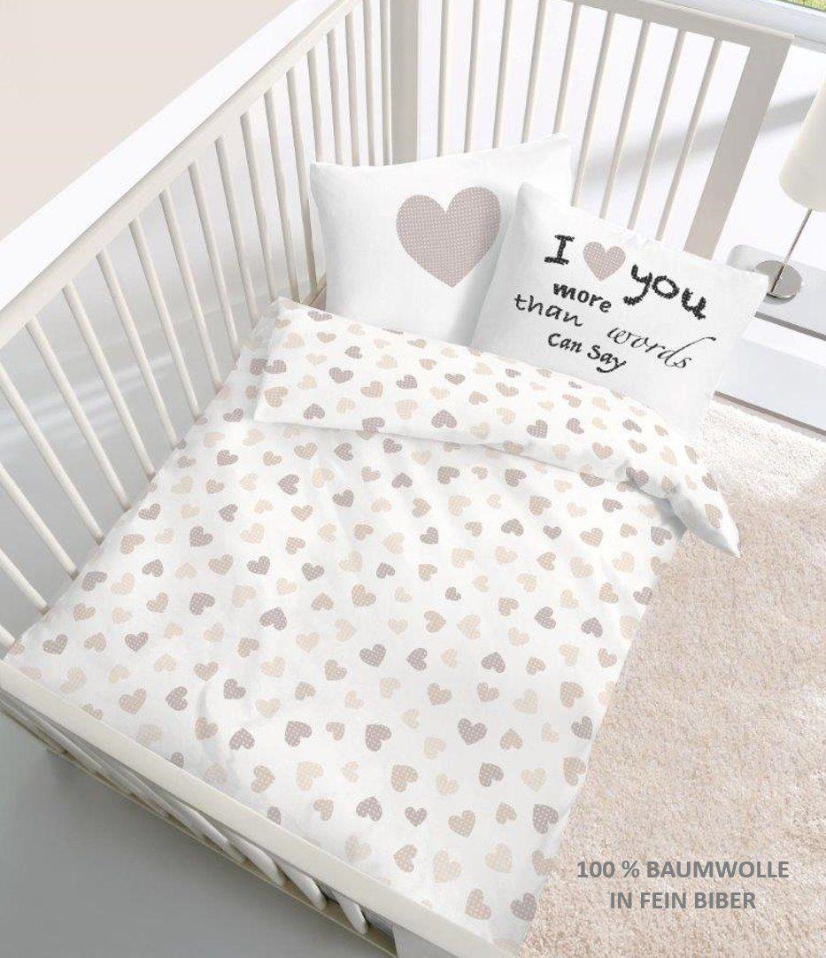 Fein Biber Baby Bettwäsche Herz I Love You In Beige Größe 40x60 100 X 135 Cm Hergestellt In Deutschland Ama Bettwäsche Kinder Baby Bettwäsche Bettwäsche