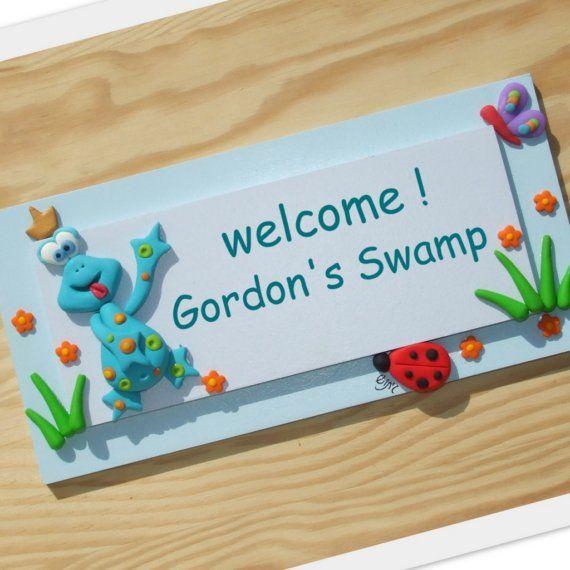 Green Frog Door Sign - personalized handmade door sign, home decor ...