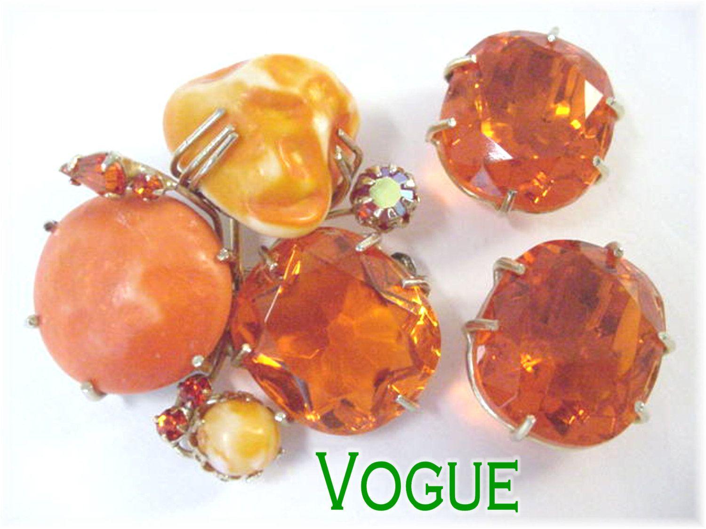 VOGUE Signed - Halloween Orange Large Rhinestones Brooch Pin & Earrings Set - Juliana DeLizza - Pennsylvania Estate Antique - FREE SHIPPING