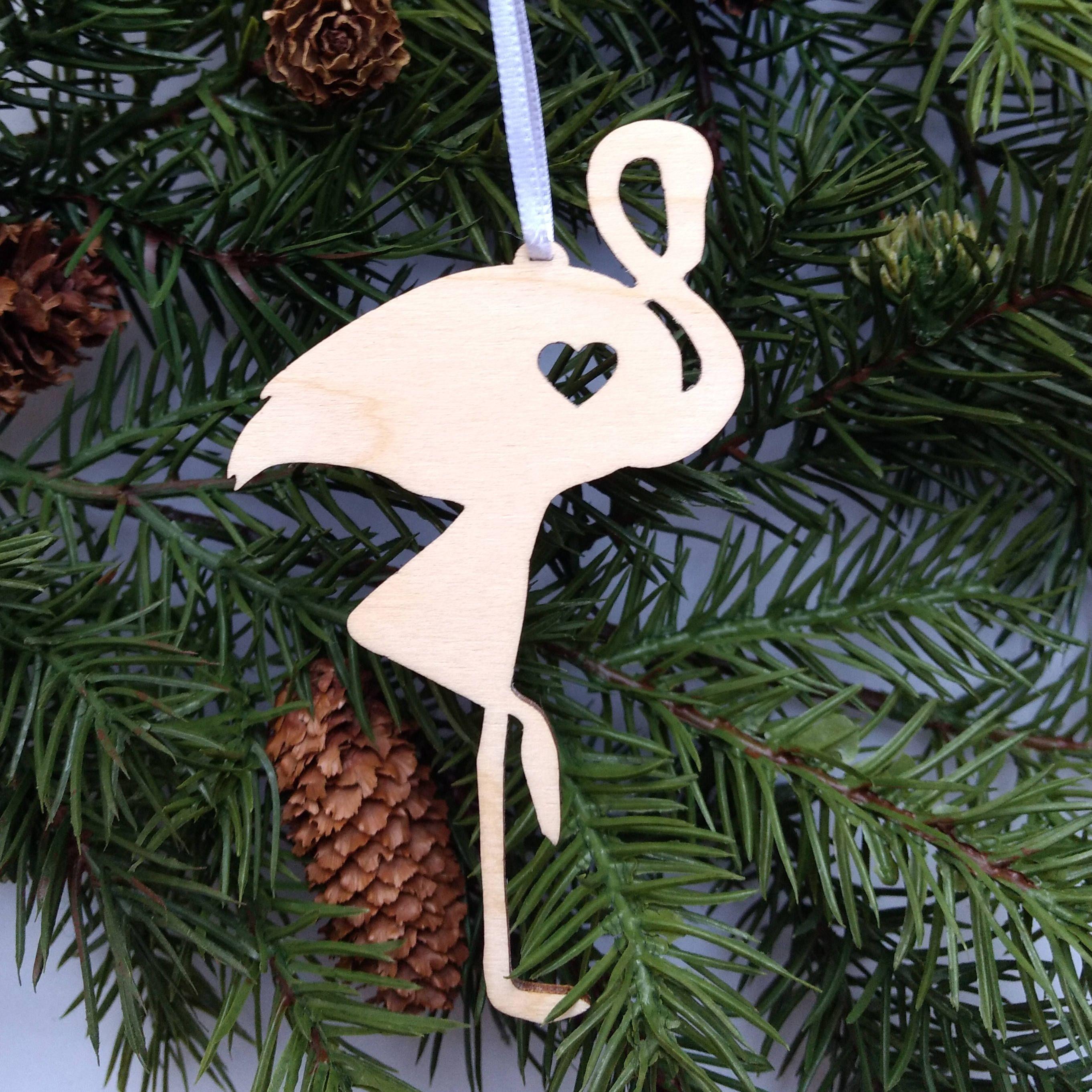 Flamingo christmas ornament wooden holiday decor xmas tree