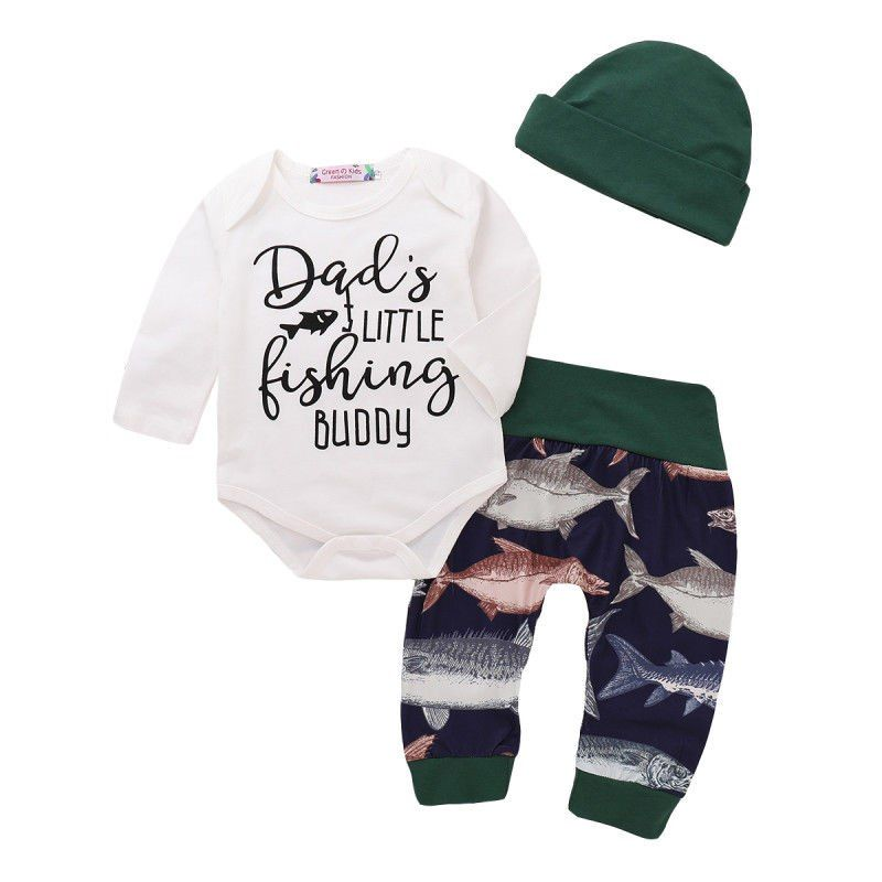 9462b9a9e Newborn Baby Boy Fishing Cotton Clothes Sets Letter Printed Tops Romper Long  Pants Hat Outfits Clothes 0-24M