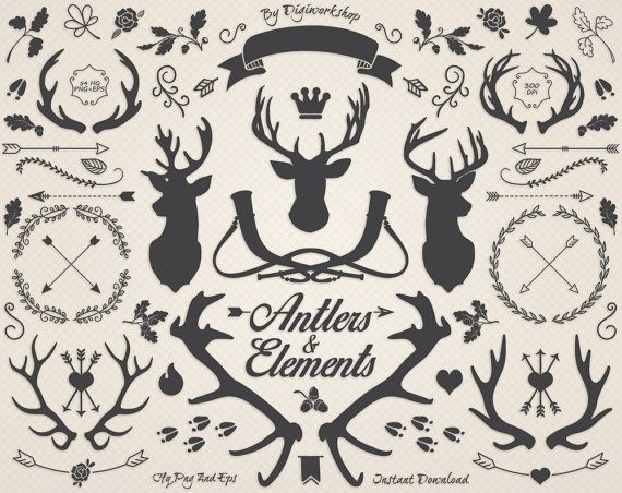 Antlers Clipart Deer Clip Art Antler Silhouettes And Elements A