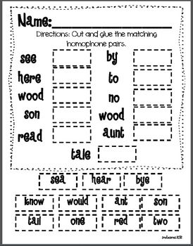 Homophones Activity Recording Sheet Freebie | 2nd grade ...