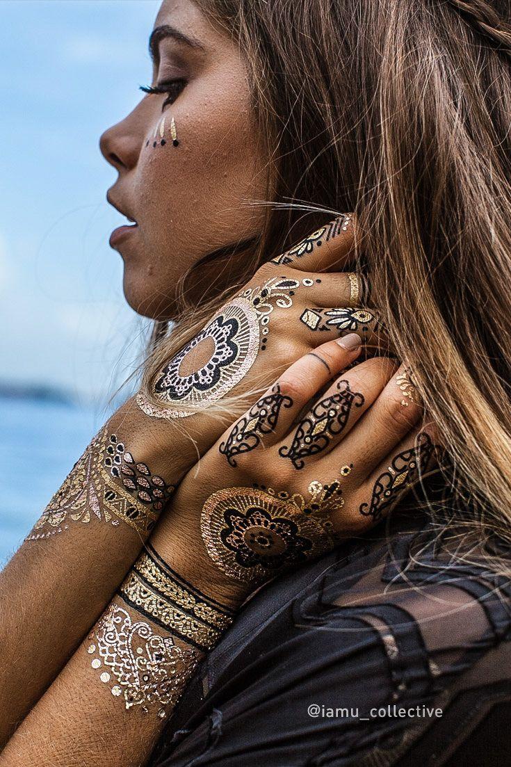 Metallic henna tattoo collection henna tattoo henna