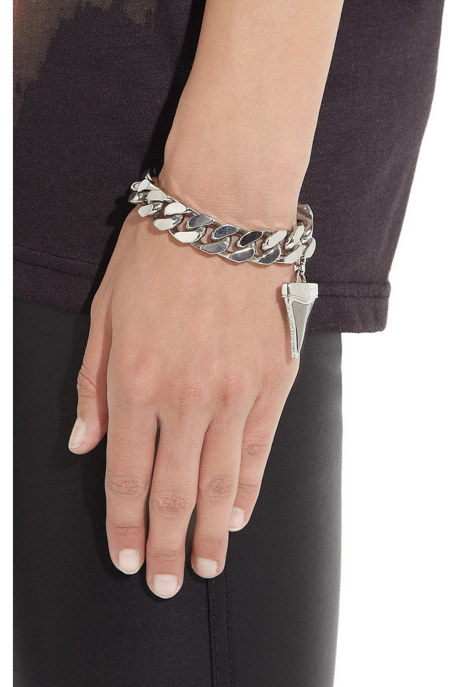 Givenchy Shark Tooth Bracelet In Silver Tone And Ruthenium Metal