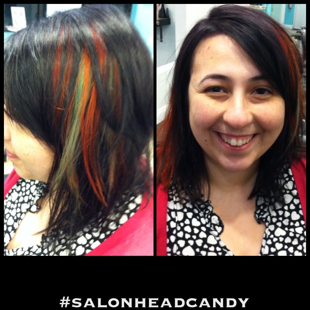 Makeover from ashy brown hair to a deep plum base with turquoise