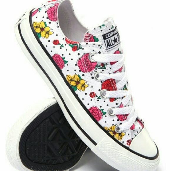 ae5100f2b501e0 NEW CONVERSE ALL STAR SHOES Cute white converse with multi-color floral  print !! Never used! Bundle and save!  )  )  ) Converse Shoes Sneakers