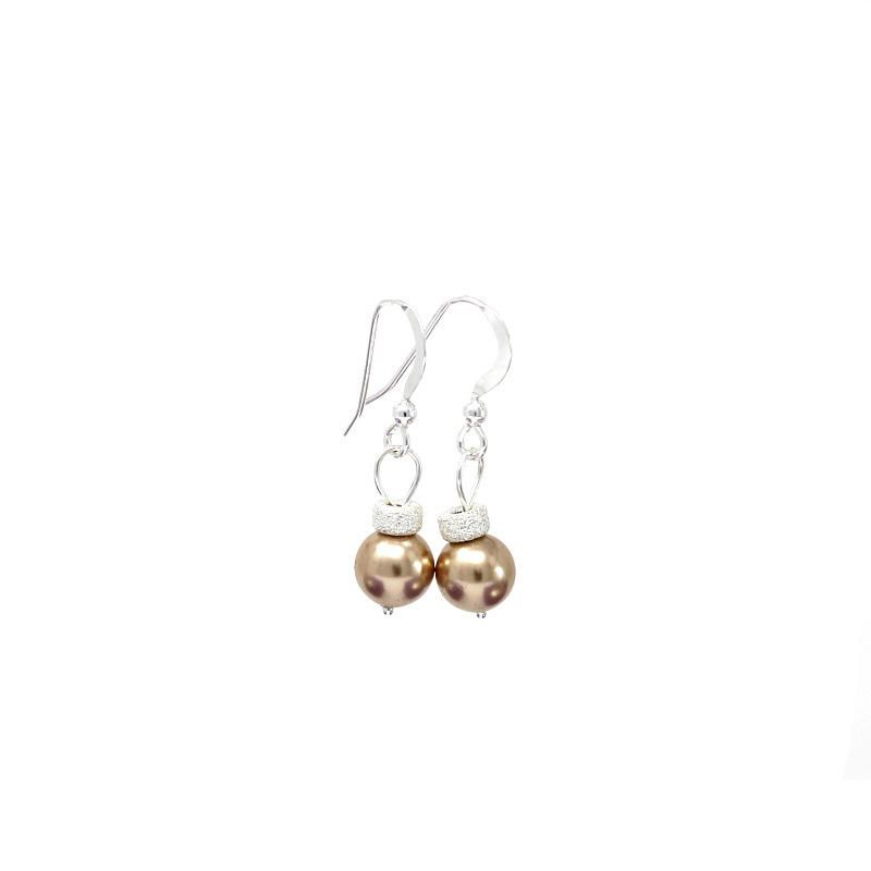 Rose Gold Swarovski Pearl Christmas Bauble Earrings On Sterling Silver Wires