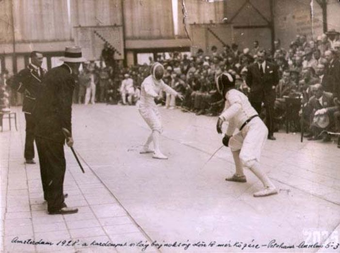 Attila Petschauer Fencing In Competition Amsterdam 1928