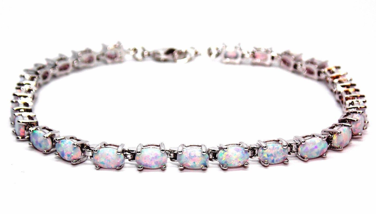 Silver Fire Opal Pear Cut 7.63ct Tennis Bracelet (925) PIdBDdV