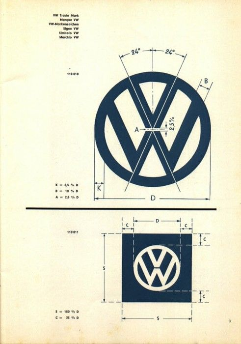 The schematics for the Volkswagen symbol. So exacting with the ... on