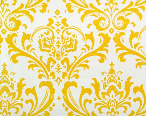 Bright Cornflower Yellow and White Traditions Damask by Home Lush ...