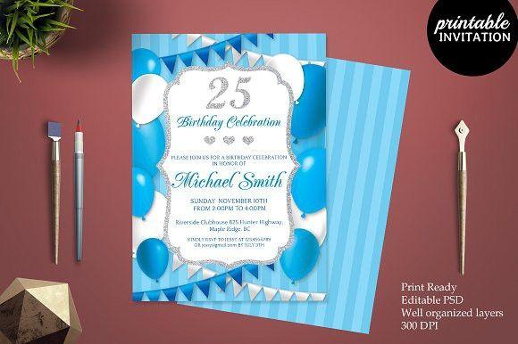 25th Birthday Invitation Template Party Invite Template Birthday Invitation Templates Boy Birthday Party Invitations