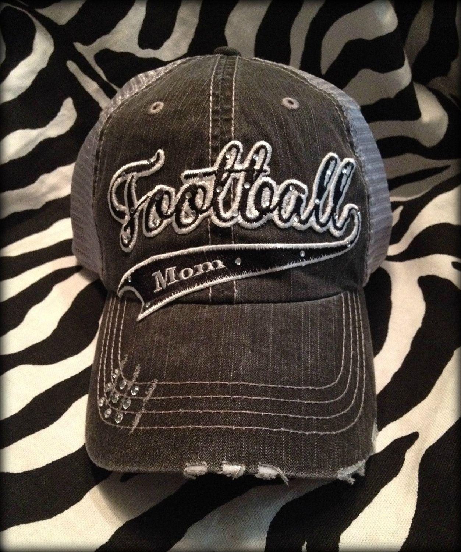 d69e6d66484 Custom School Team Football Mom Distressed Bling Hat.  31.50