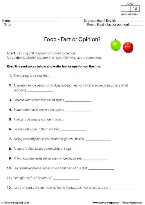 Primaryleap Food Fact Or Opinion Worksheet Esl