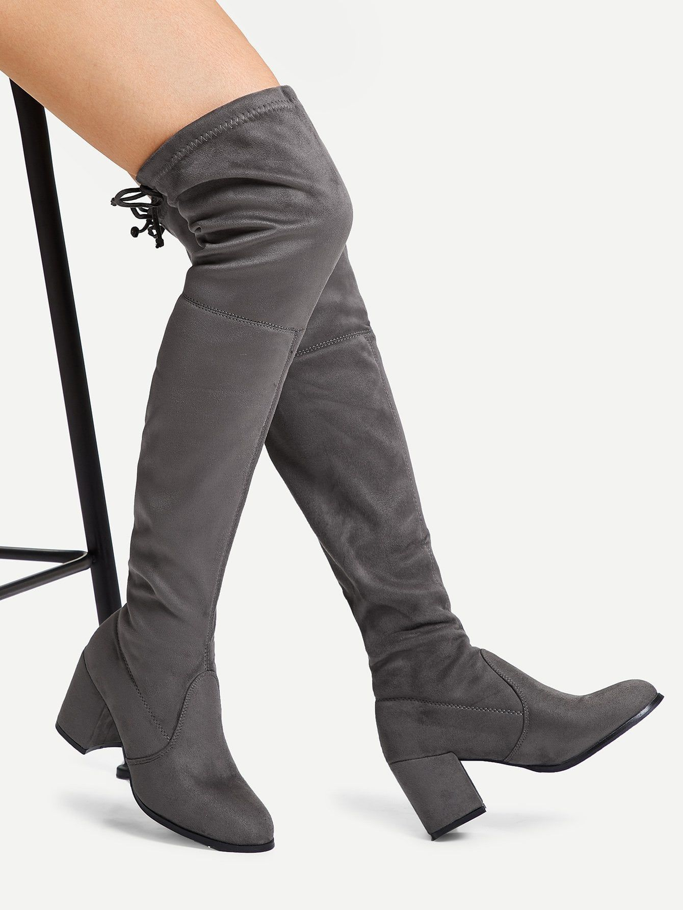 ffbde0df25 Tie Back Over Knee Block Heeled Boots. Elegant Almond Toe OTK/Thigh High No  zipper Grey Mid Heel Chunky Suede Over The Knee Boots