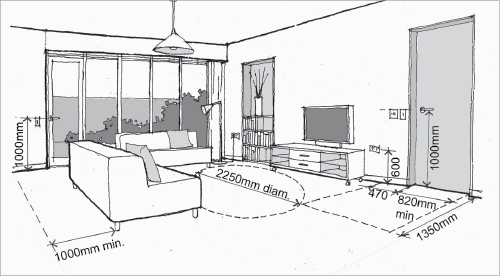 A Diagram Shows Appropriate Distances And Heights Of Items In The Living Room Of An Adaptable