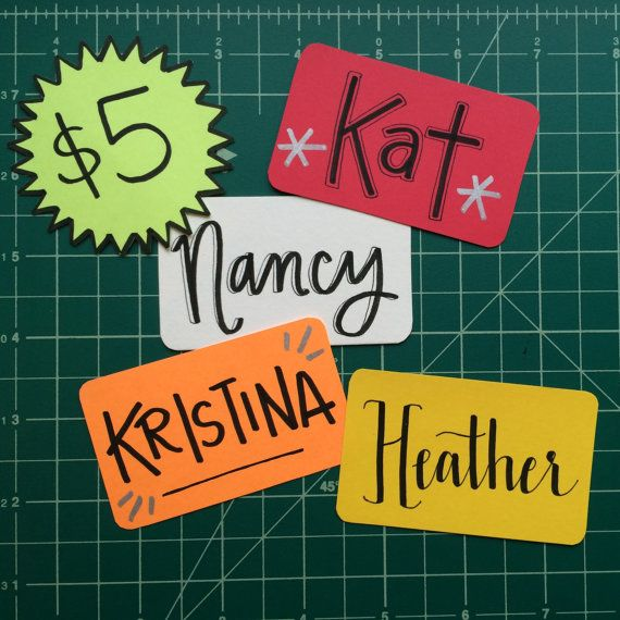 Fun custom name badges for nurses, doctors, or anyone who has to wear a badge at work. | Good Morning Lettering Co. on Etsy